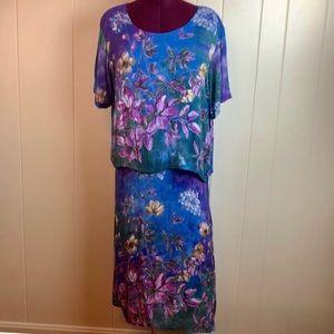 Vintage 90s Multi Floral Print Wide Neck Dress
